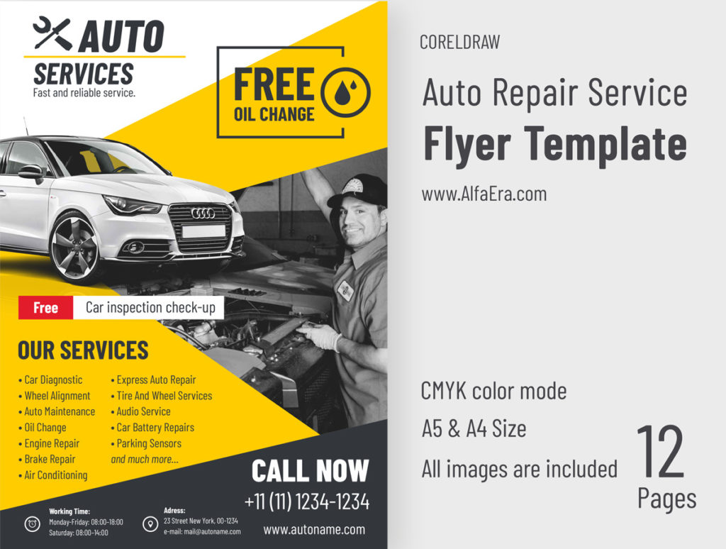 Auto Repair Flyer Template CorelDRAW