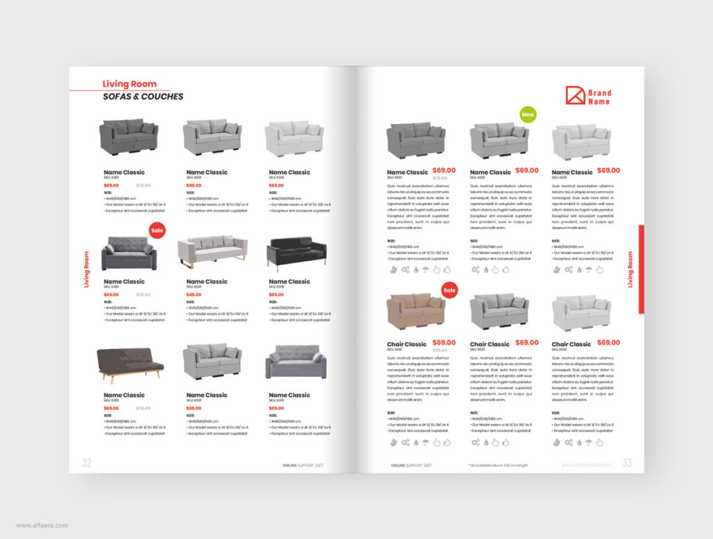 Sofas Product Catalog Template