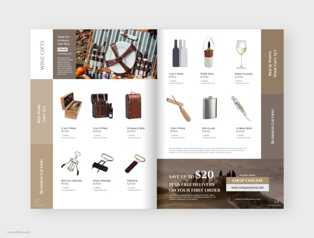 Wine Gifts Catalog Template