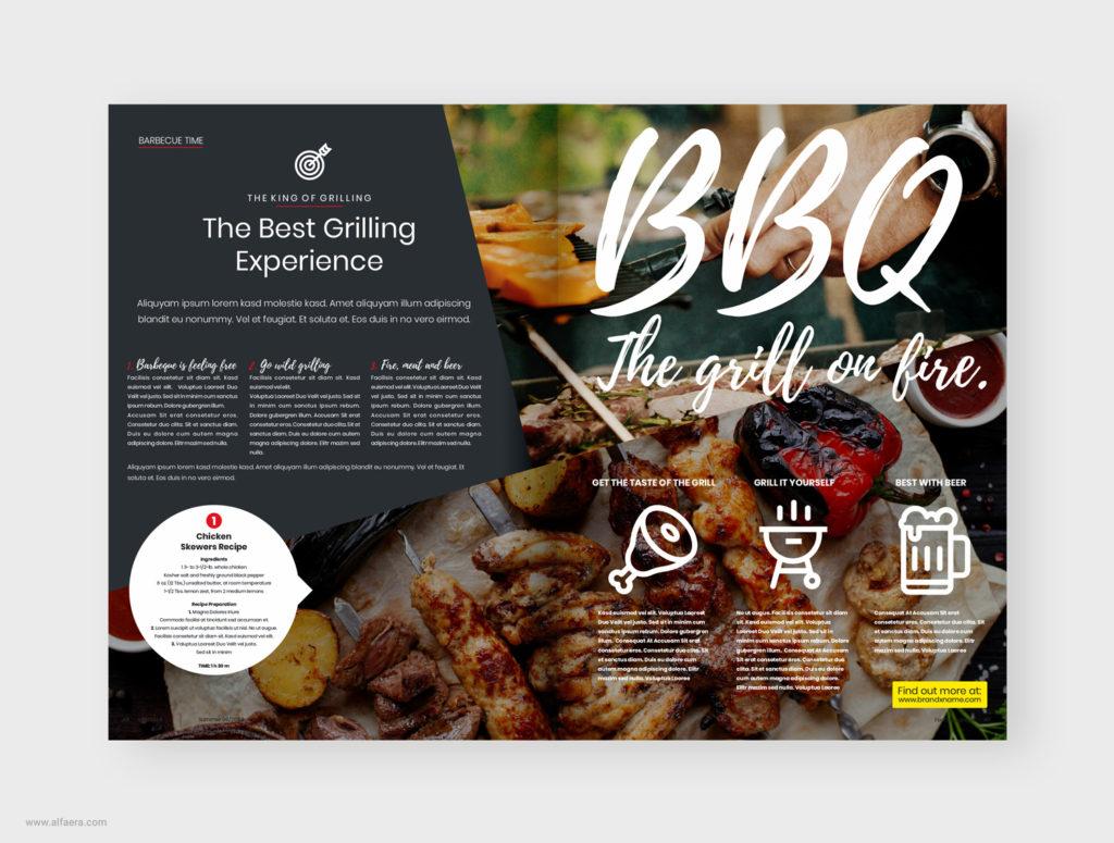 bbq magazine template design
