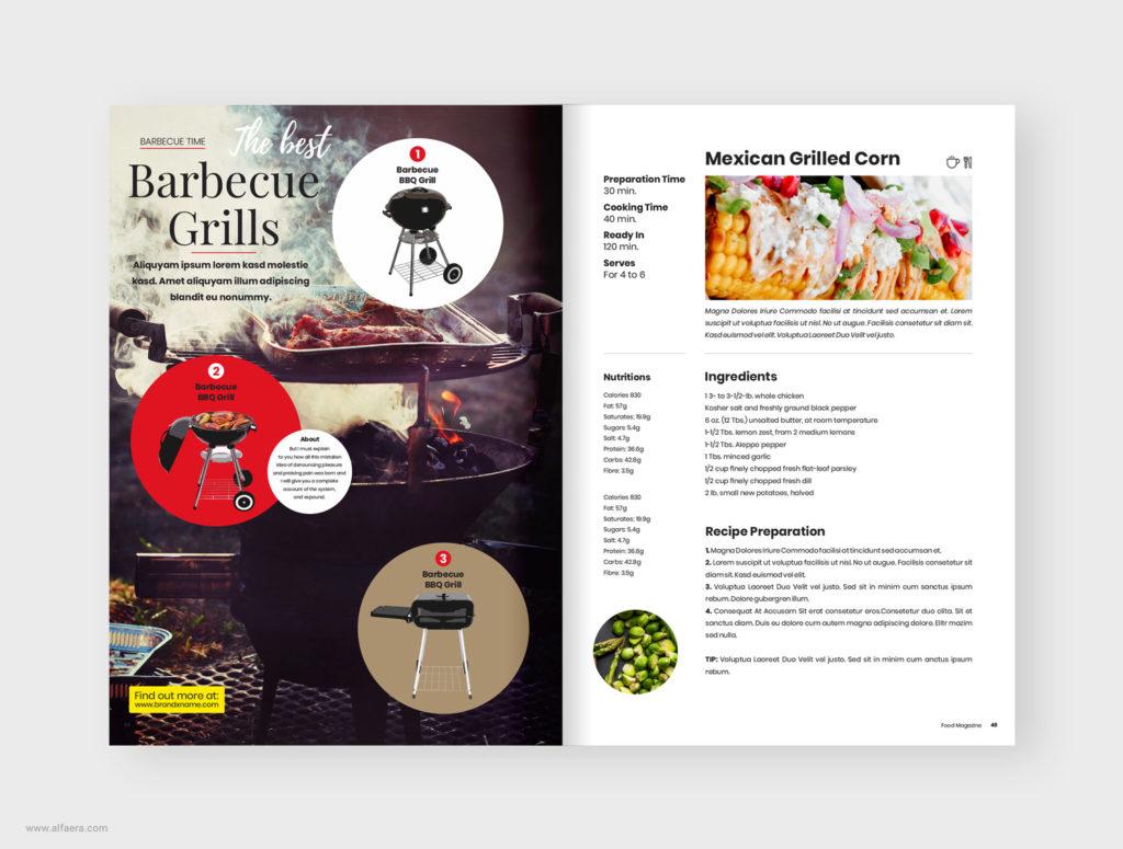 bbq food magazine template