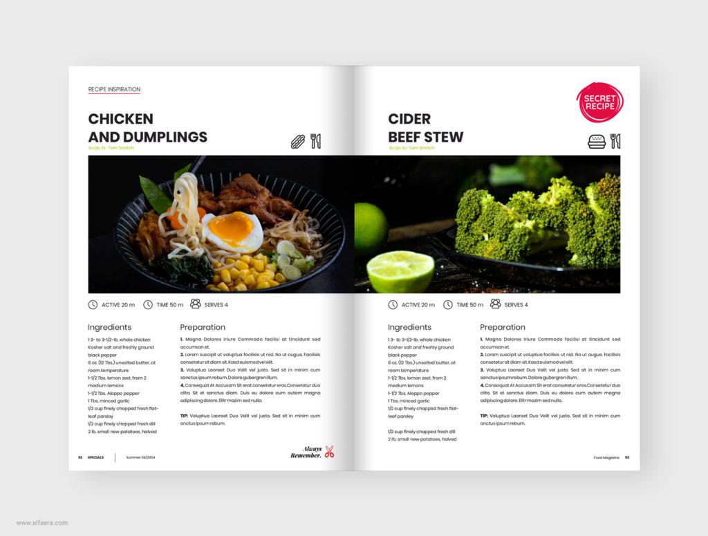 Food recipe template