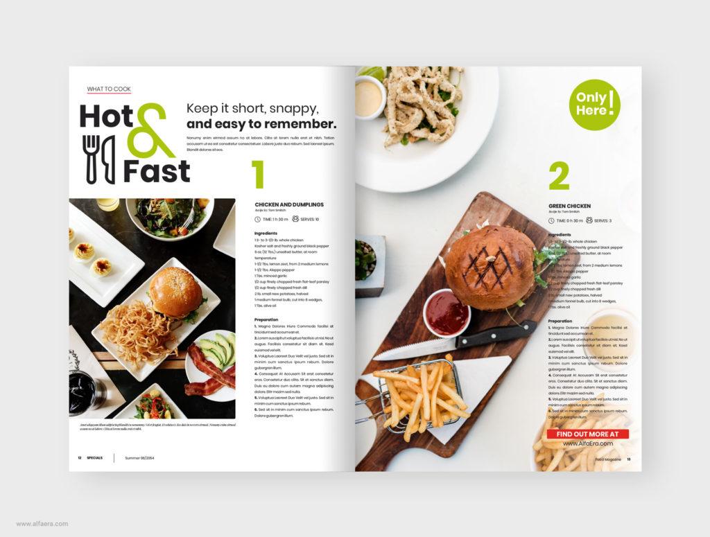 Food magazine design layout