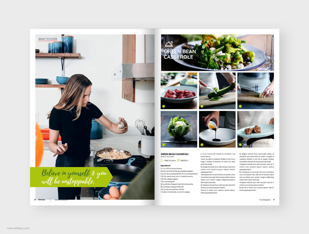 Cookbook food magazine template