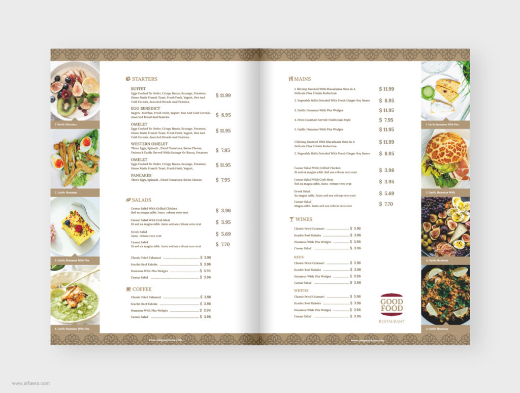 Modern Clean Restaurant Menu Template CorelDRAW