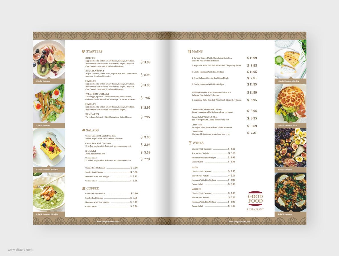 restaurant menu template - alfaera