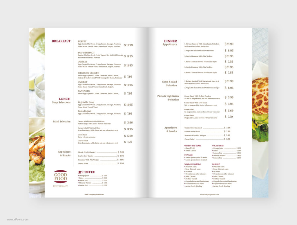 Food Menu Template CorelDRAW
