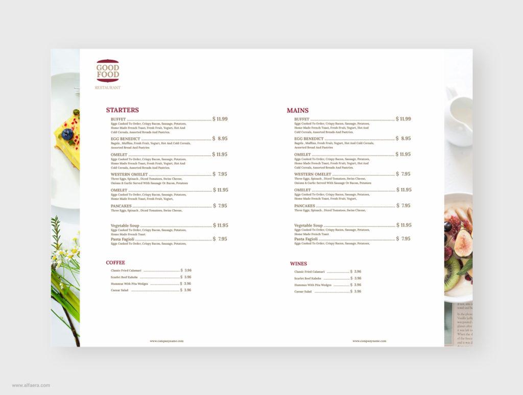 Modern Clean Restaurant Menu Template