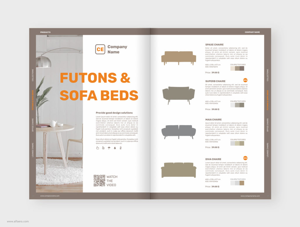 Sofa Beds Product Catalog Brochure Template