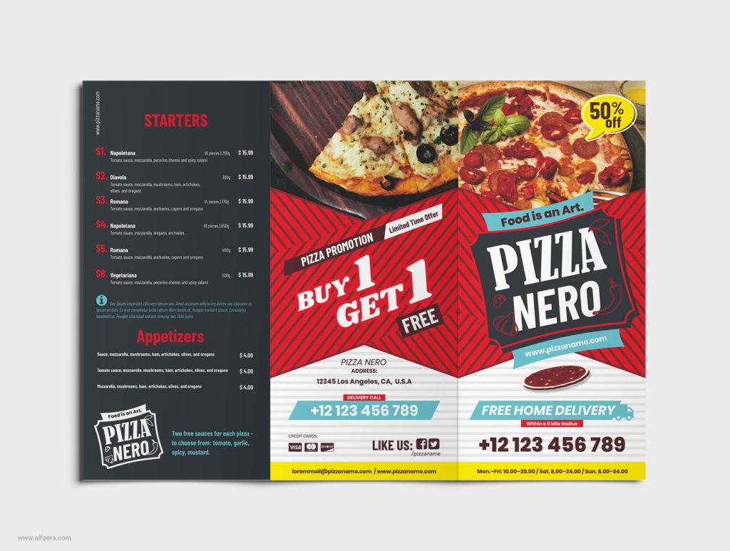 CorelDRAW Pizza Trifold Template