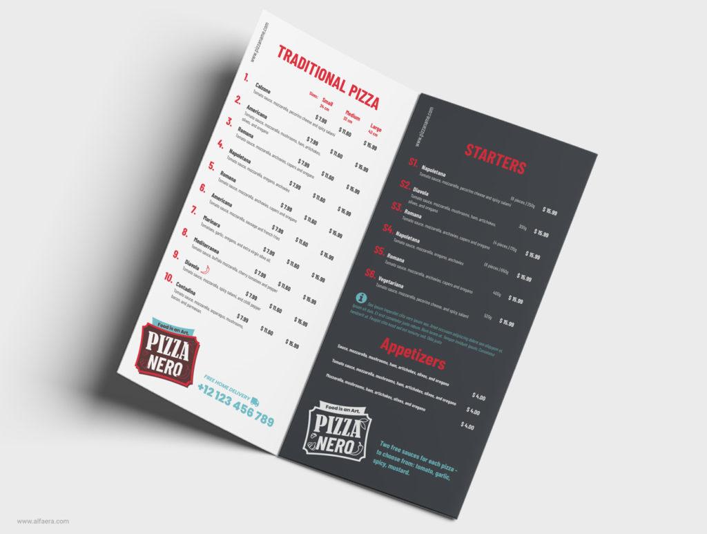 Folded Pizza Menu Template CorelDRAW