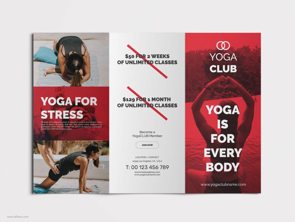 Yoga Tri-fold Brochure CorelDraw Template
