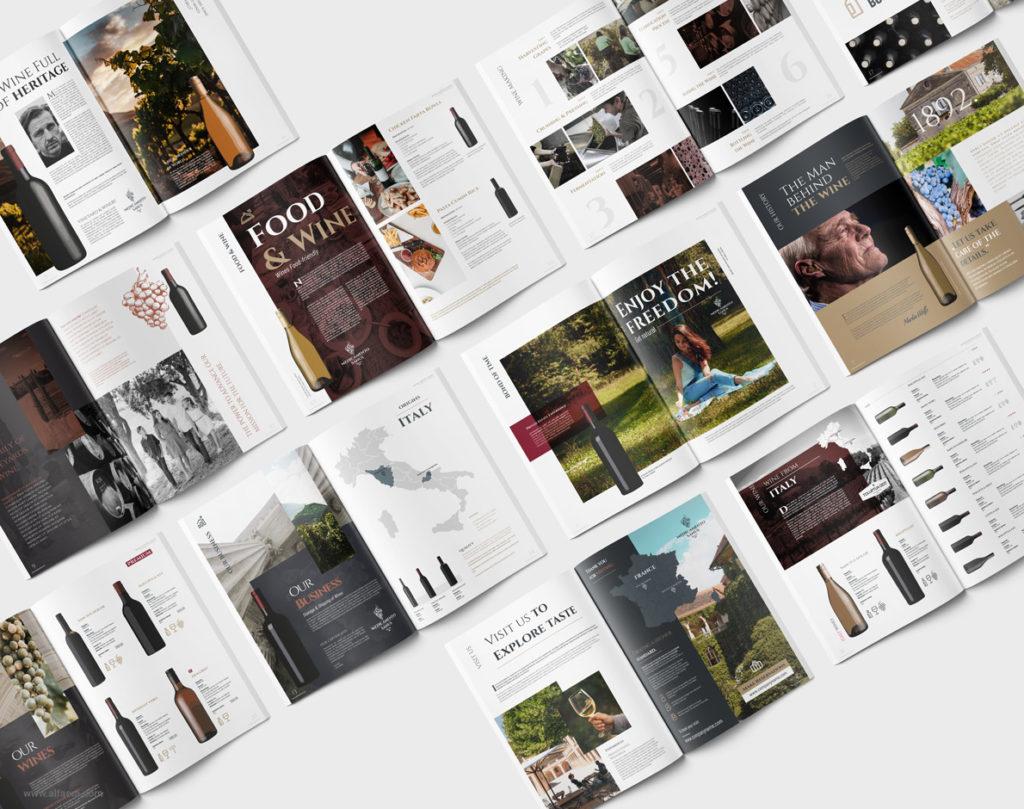 Wine catalog brochure template design